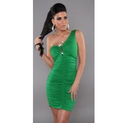 Sexy abitino verde monospalla con gioiello taglia unica 38/42