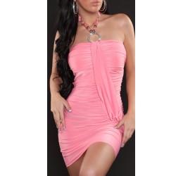 Sexy mini abito rosa con strass e pietre tg. 40/44