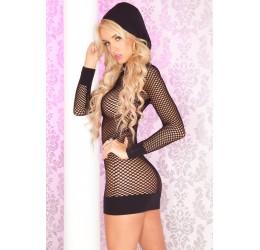 Mini Abito a rete nero con cappuccio 'Hoodie Dress'