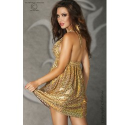 Mini Abito maculato oro brillantinato CR-3415 Chilirose