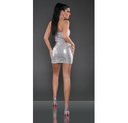 Sexy mini abito tubino color argento con pailettes tg. 38/42