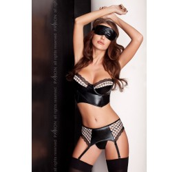 Sexy set 4 pezzi nero lucido 'Virgin set' Passion Lingerie