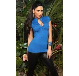 Sexy Maglietta blu con borchiette taglia unica 40/44