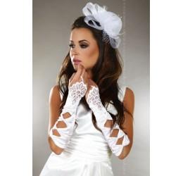 Guanti bianchi infradito in tessuto satinato con decorazione