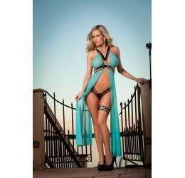 Sexy Vestaglia da camera turchese con perizoma e giarrettiera G-World Lingerie