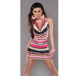 Sexy Abitino a righe in fantasia rosa con catenelle