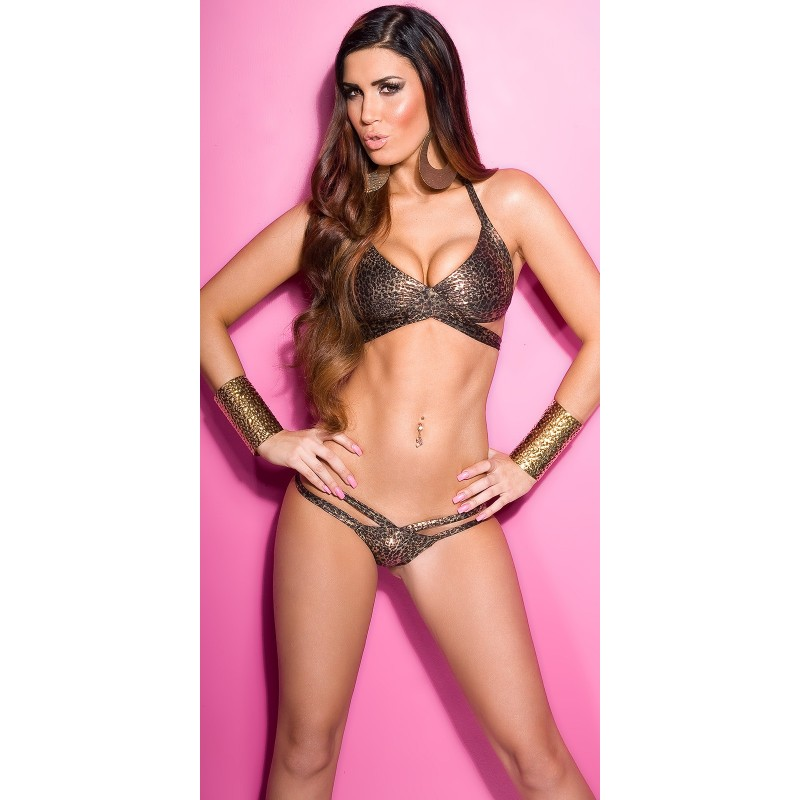 Sexy Costume donna Bikini 2 pezzi pitonato lucido