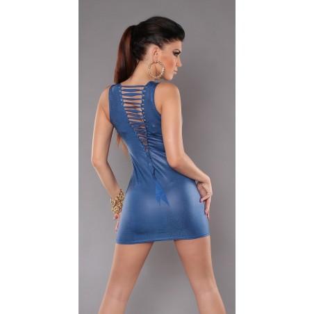 Sexy mini abito blu con stringhe posteriori taglia unica