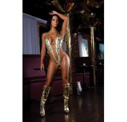 Sexy Body in lycra color oro zebrato con inserti dorati