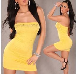 Sexy top lungo tubino giallo con strass taglia unica 40/44