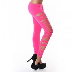 Sexy leggings rosa con strappi laterali taglia unica 40/44