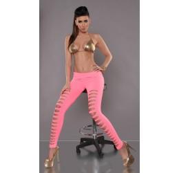 Leggings rosa neon con strappi davanti taglia unica 38/44