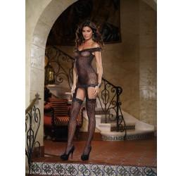 Mini abito nero in rete ricamata con calze da Dreamgirl