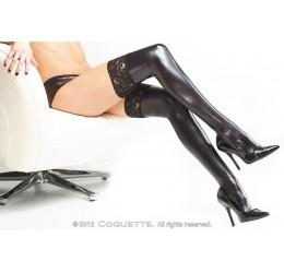 Sexy Calze autoreggenti nere lucide effetto bagnato con pizzo