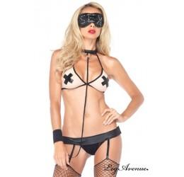 Sexy Completino con reggicalze e maschera LA87038