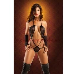 Micro body nero con guanti infradito 'Alexandra' Sexy Lea