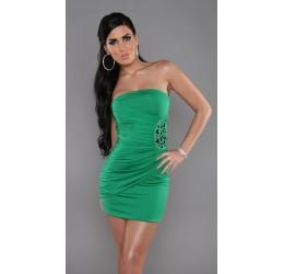 Sexy Tubino verde con decoro in pietre taglia unica 40/44