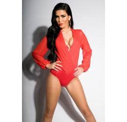 Sexy body rosso scollato con maniche lunghe taglia unica