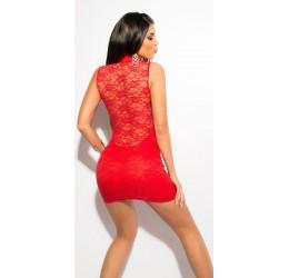 Sexy Mini abito rosso con inserti in pizzo taglia unica