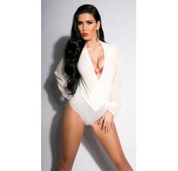 Sexy body bianco scollato con maniche lunghe taglia unica