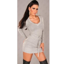 Top lungo/mini abito grigio con cinturina tg. unica 40/44