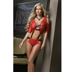 Completino 2 pezzi rosso Top + Shorts 'Opulent Fishnet Set'