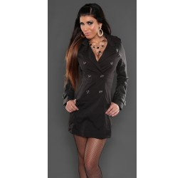 Trench da donna nero con maniche in similpelle