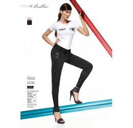 Leggings neri con inserti in ecopelle e zip 'Alexa'