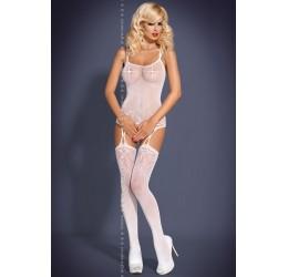 Bodystocking in microrete bianca stile guepiere+calze F206 Obsessive