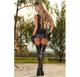 Sexy Mini Abito nero lucido con borchiette e guanti