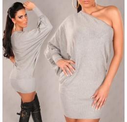 Mini abito grigio monospalla tg. unica 40/44
