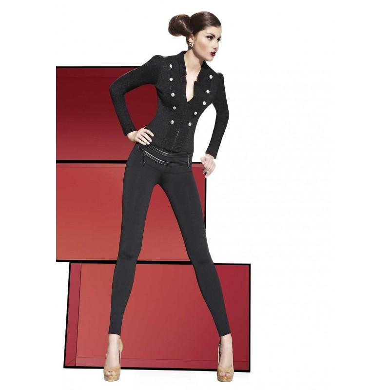 Sexy Leggings neri con inserti in ecopelle e zip 'Sharon' Bas Bleu