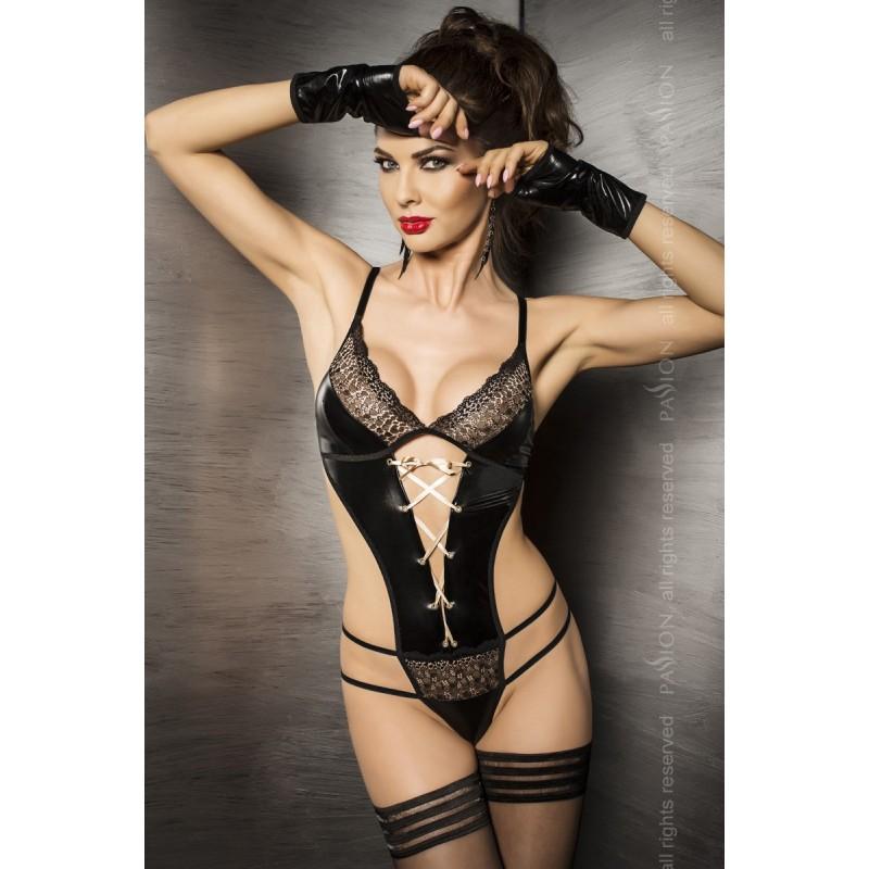 Sexy Body nero lucido con polsini 'Agawa' Passion Lingerie