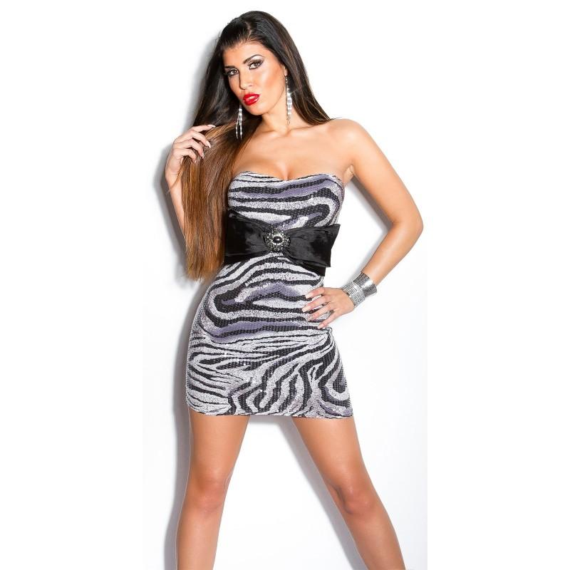 buy popular ad603 23365 Sexy tubino zebrato con fiocco in raso e gioiello | Mini abiti |  Rosanerastore Size S (38/40) Color Zebrato