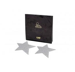'Flash star' Copricapezzoli adesivi glitter argento Bijoux Indiscrets
