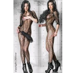 INTIMO SEXY Catsuit in rete nera con ricami Chilirose