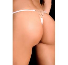 Sexy Perizoma in lycra bianco con gioiello 7Heaven