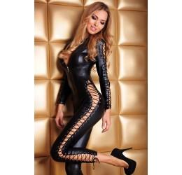 Sexy Tuta nera lucida scollata con stringature 7Heaven
