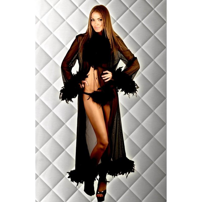 Sexy Vestaglia nera con piume e perizoma 7Heaven