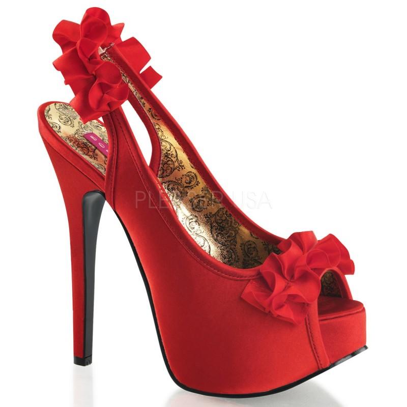 Sexy Sandali rossi in raso con plateau Tacco 14 cm Bordello Teeze
