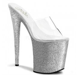 Sexy Sandali argento glitter con plateau 'Flamingo'