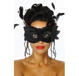 Sexy MASCHERA nera con pailettes e piume
