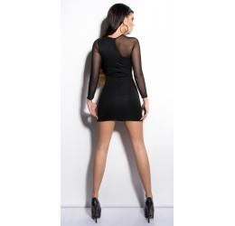 ecbf55f1e352 ... Mini abito nero con maniche trasparenti