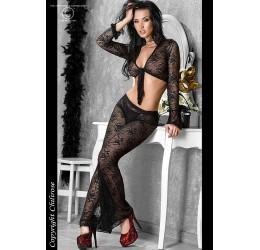 Top e Pantaloni sexy in pizzo lavorazione floreale 38/44