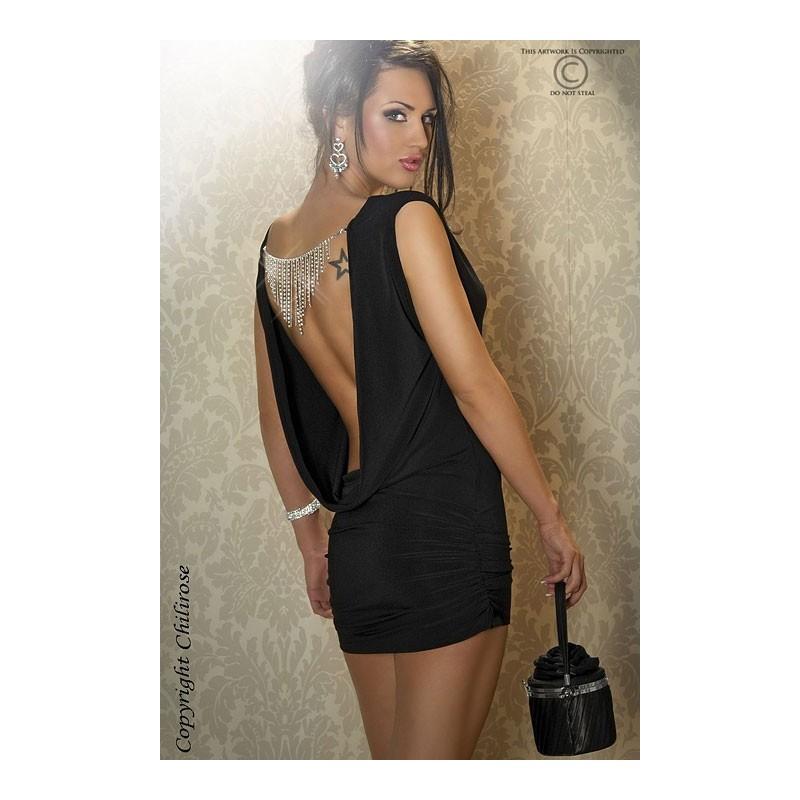 Mini abito nero arricciato sui fianchi con strass. Schiena scoperta