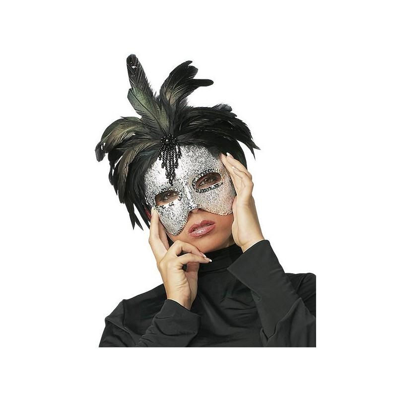 Sexy MASCHERA argentata con PIUME nere