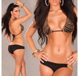 Costume donna Bikini 2 pezzi nero con catenelle