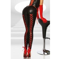 Sexy leggings neri con stringhe rosse
