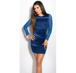 Sexy mini abito blu con inserti trasparenti tg.40/44