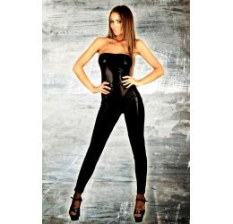 Sexy Tuta nera lucida con zip 7Heaven